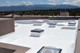 Silicone-coated roof with skylights