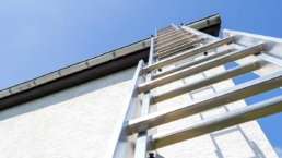 Ladder access to commercial roof