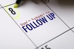 Marking follow-up date on calendar