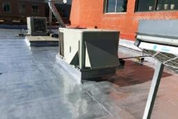 Xylene-based polyurethane roof coating installed near HVAC system