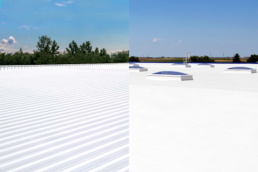 Side by side image of restored flat and metal roofs