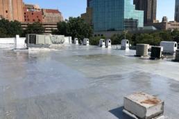 Urethane roof coating on flat roof