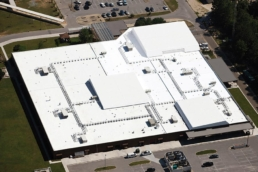 Aerial view of newly-installed Envir-O-Sil Roof Restoration System