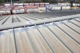 Urethane roof mastic on fasteners of standing seam metal roof