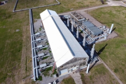 Aerial view of completed Met-A-Gard Metal Roof Coating System