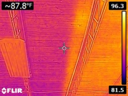 Infrared image showing the effectiveness of reflective roof coatings