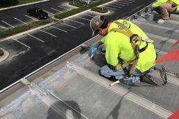 Roofer waterproofing fasteners with thick polyurethane mastic