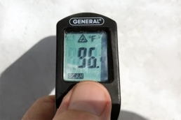 Roof surface temperature after roof coating application