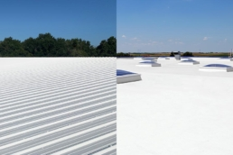 Roof coating on commercial flat and metal roofs