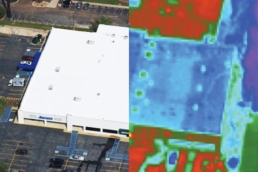 Side by side comparison of commercial building with infrared scan