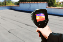Infrared moisture scan on a flat roof
