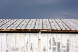 Metal roof with signs of rust