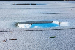 Ponding water is a very common flat roof problem