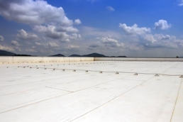 PVC roofing system on a large commercial flat roof