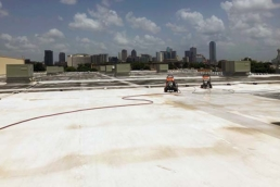 TPO roofing material on a large industrial roof
