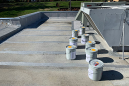 Urethane mastic applied on seams of fast food industry roof