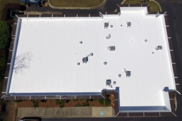 Aerial picture of a flat roof restoration project