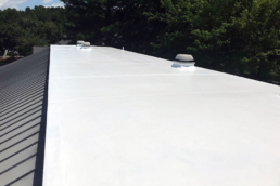 Silicone roof coatings on EPDM flat roof