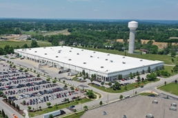 Large industrial building with TPO roofing system